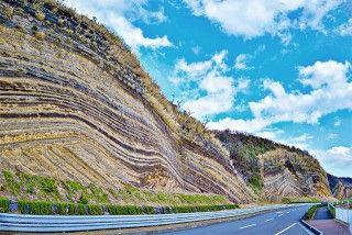 地層切断面(バウムクーヘン)の写真